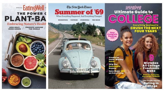 Magazine covers from Eating Well, The New York Times and Seventeen.