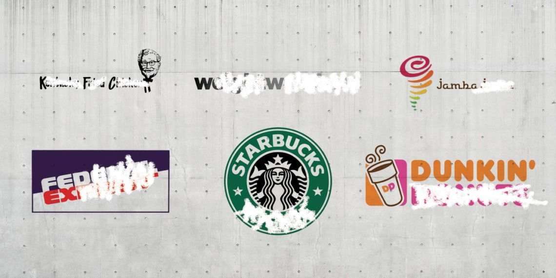 original logos of kfc, ww, jamba, fedex, starbucks and dunkin on a wall