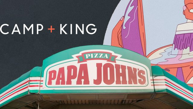 Camp + King and Papa John's logos