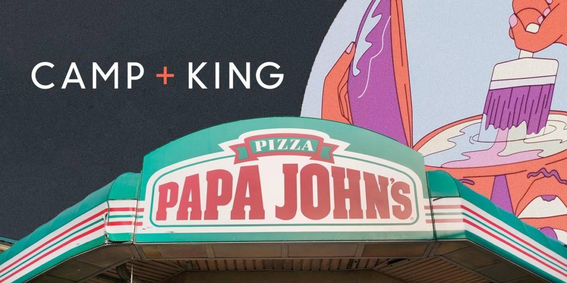 Camp + King and Papa John's logos