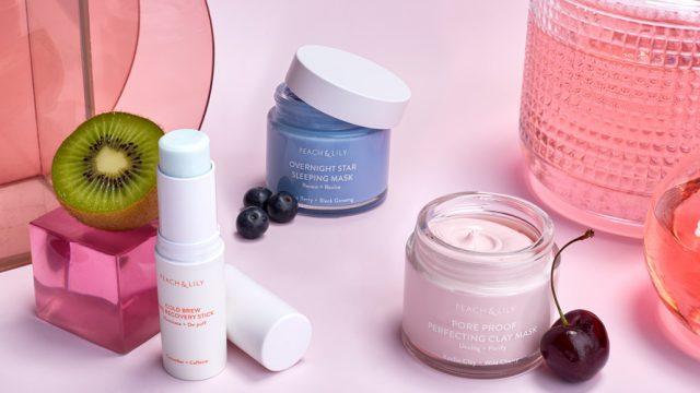 Studio shot of Peach& Lily products