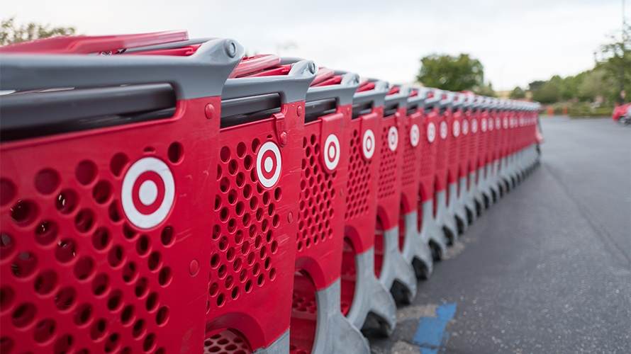 A line of Target shopping carts