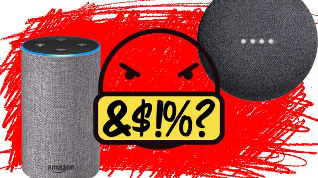 An angry face cursing next to an Alexa and Google Home.