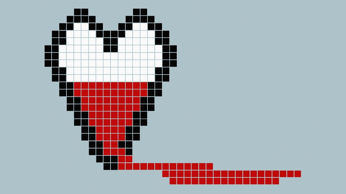 a pixelated heart with red leaking out of a hole in the bottom