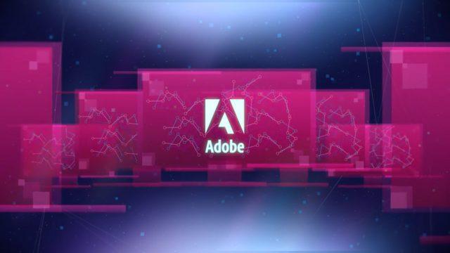 Adobe logo, computer screens, line graphs