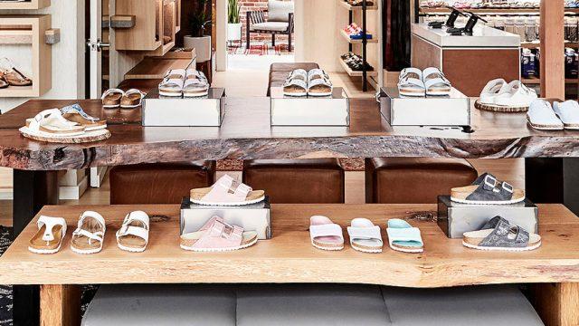 Birkenstock sandals on display