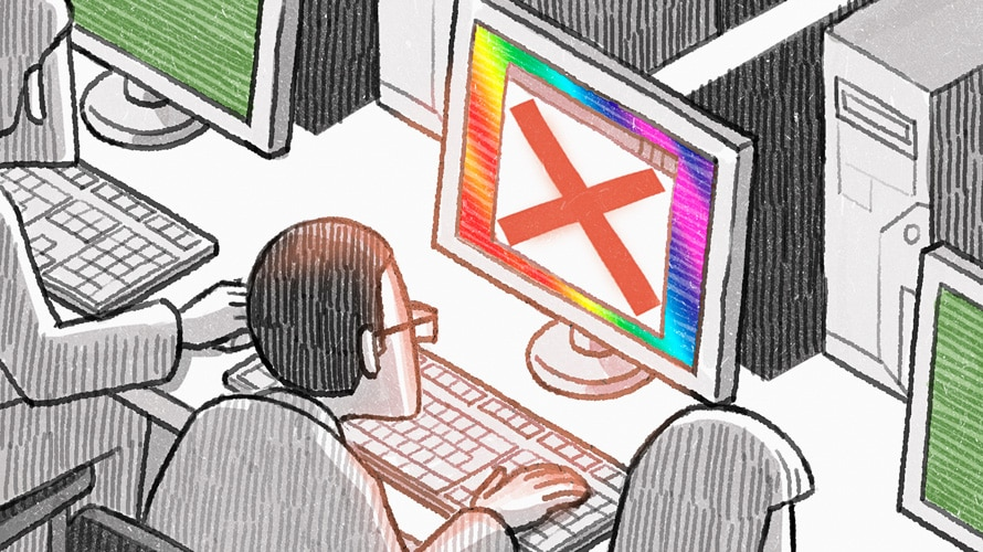 Illustration of person on a computer rainbow screen computer being denied access