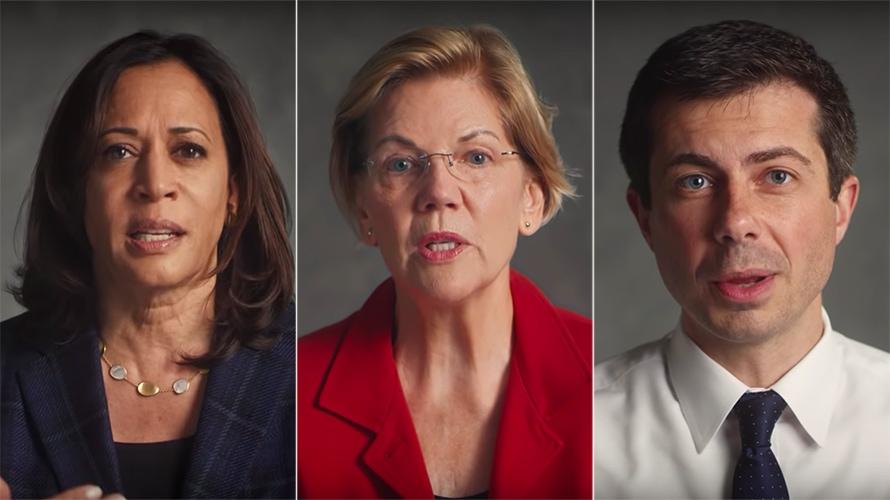Kamala Harris, Elizabeth Warren and Pete Buttigieg gun safety democratic candidates