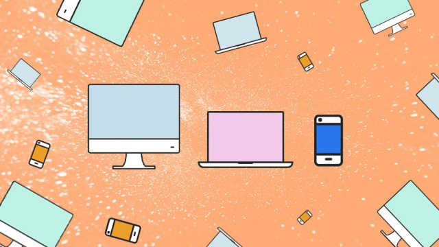 illustration of computers and smartphones floating on an orange background