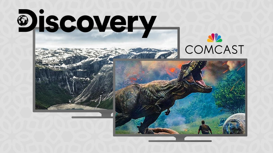 """A picture of mountains and another picture of a T-rex with """"Discovery"""" and """"Comcast"""" written above them"""