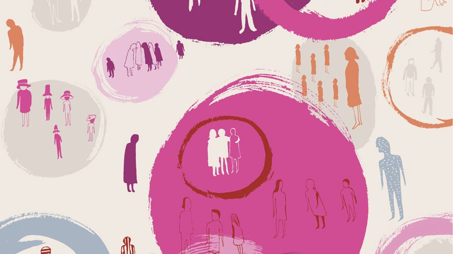 Illustration of people and pink circles
