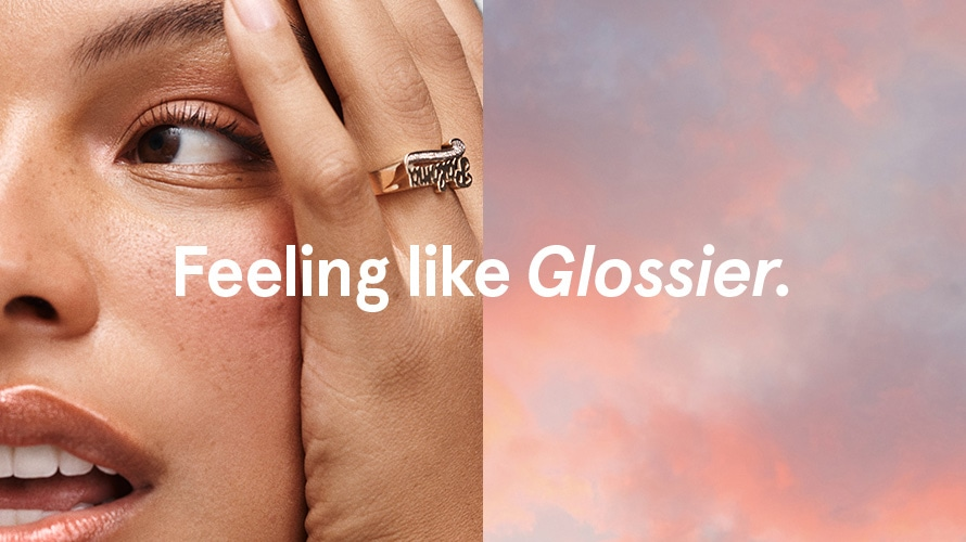 Feeling like glossier campaign, split image of model Paloma and clouds