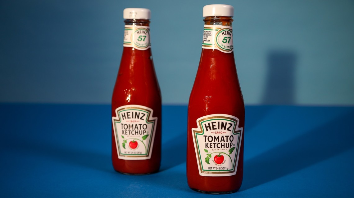 Two bottles of Heinz ketchup