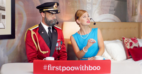 The Poo-Pourri and Hotels.com Mascots Are Joining Forces for Fecal Color Commentary
