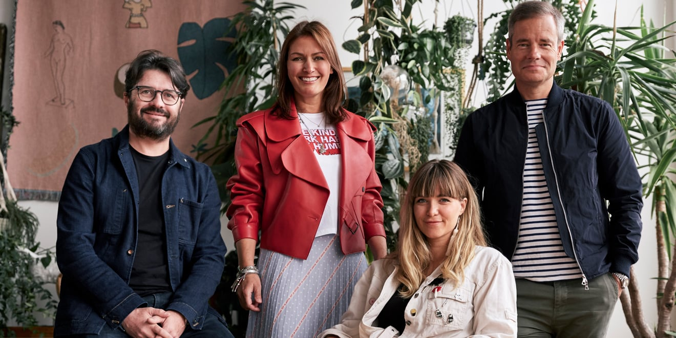 From left: Nicholas Hulley, ecd; Sarah Douglas, CEO; Nadja Lossgott, ecd; and Alex Grieve, CCO of AMV BBDO
