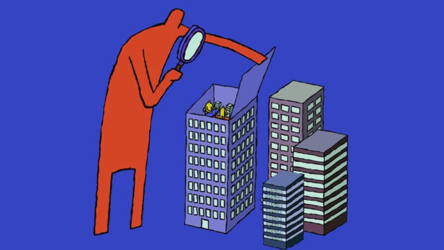 a large red figure opening a building and looking into it with a microscope