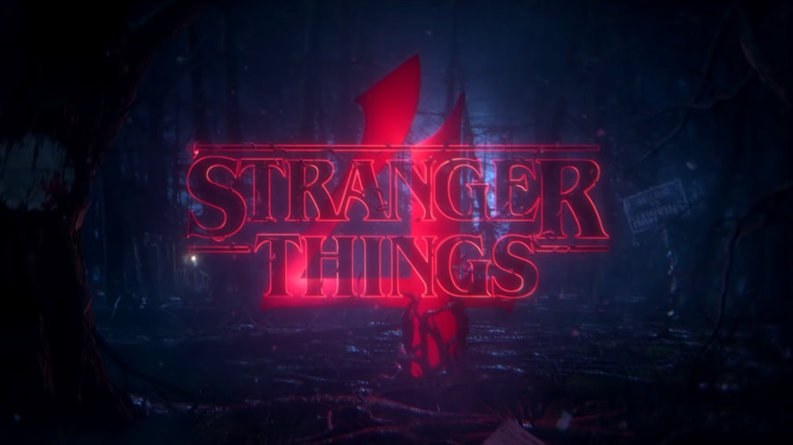 The number four behind the Stranger Things text logo