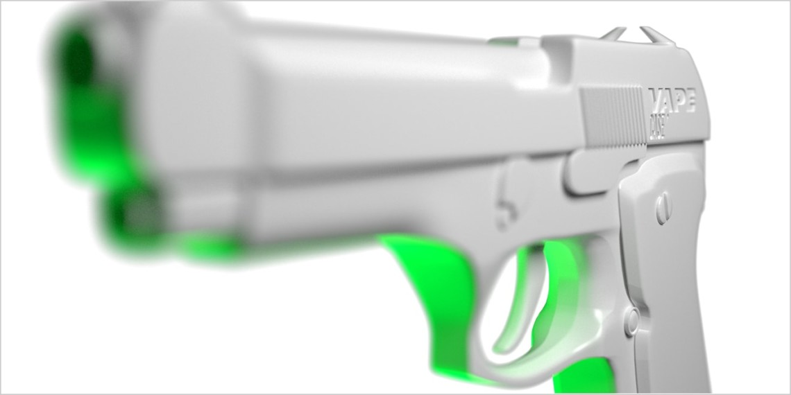 A white and green 3-D printed gun conceals a vape device
