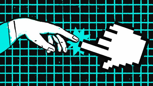 Hand making connection with computer cursor hand