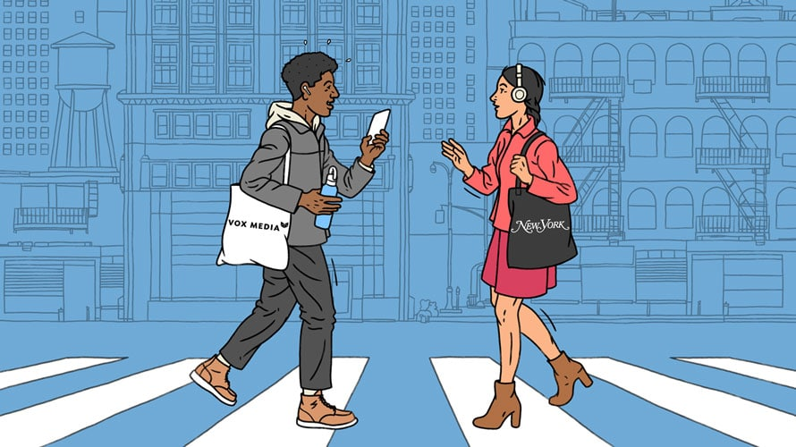 Illustration of man and woman meeting in the street with Vox Media and New York bags