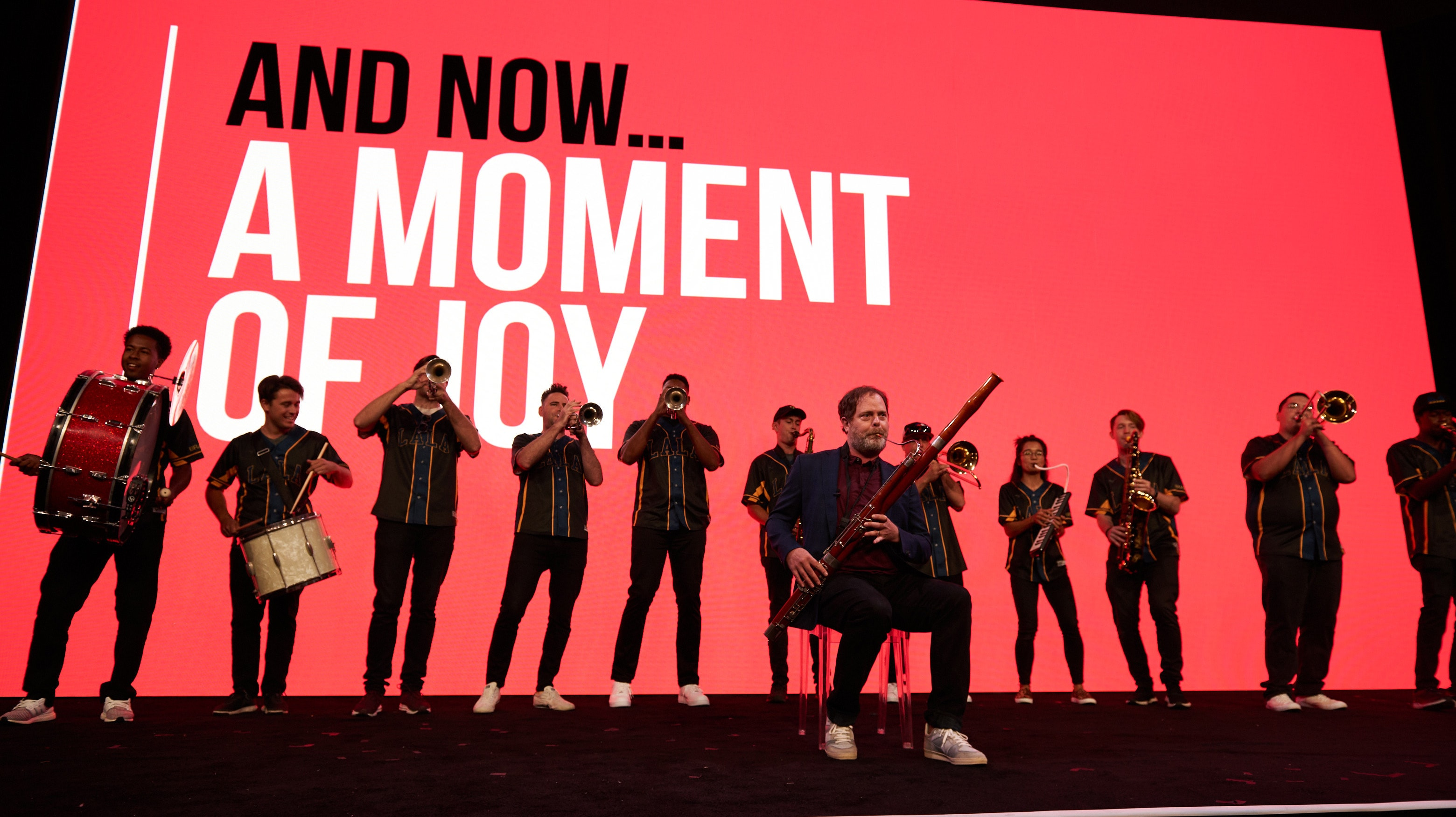 Rainn Wilson performs with LaLa Brass at NewFronts West.