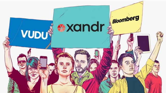 Image with people holding smartphones and Vudu, Xandr and Bloomberg signs