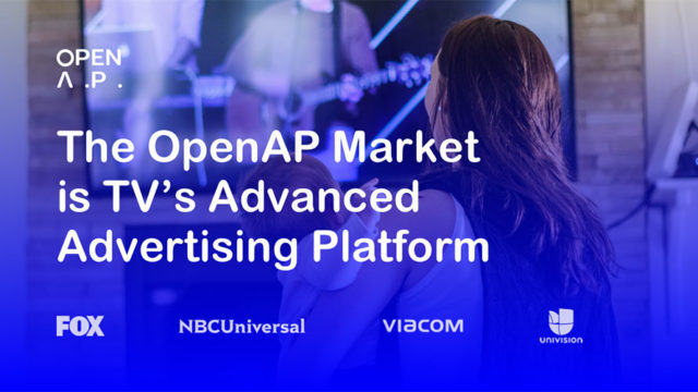 """Photo of a woman holding a baby watching TV with text that says, """"The OpenAP Market is TV's Advanced Advertising Platform."""""""