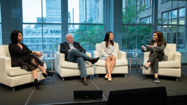 photo of a panel discussion at Adweek's TV summit with Kelly Abcarian, gm, Nielsen Advanced Video Advertising Group; Jodie McAfee, svp of sales and marketing, Inscape; Maggie Zhang, svp, video research and insights at Dentsu; and Kelsey Sutton, Adweek's streaming editor