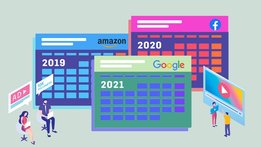 A 2019, 2020 and 2021 calendar with the Amazon, Google and Facebook logos with a YouTube logo on the side