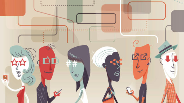 Six cartoon-looking characters either on their phones or not with different internet symbols in place of their eyes
