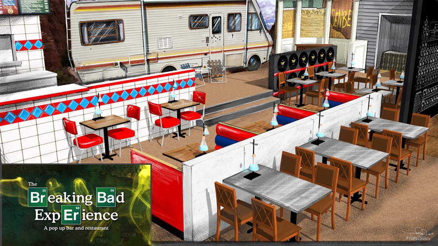 Artist's rendering of themed Breaking Bad bar