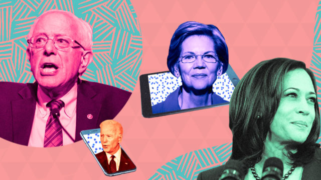 Images of Bernie Sanders, Joe Biden, Elizabeth Warren and Kamala Harris