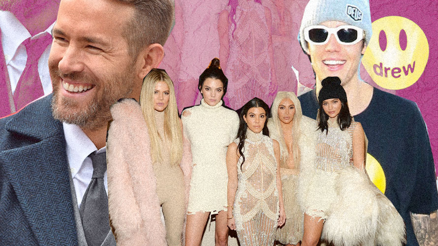 Two large images if Ryan Reynolds and Justin Bieber with Khloe Kardashian, Kendall Jenner, Kourtney Kardashian, Kim Kardashian and Kylie Jenner in the middle