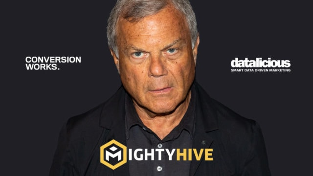Martin Sorrell surrounded by MightyHive, ConversionWorks, and datalicious logos