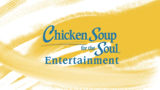 Yellow background that says Chicken Soup for the Soul Entertainment