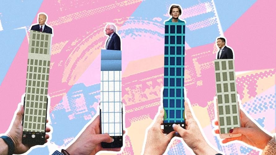 Four phones with Joe Biden, Bernie Sanders, Elizabeth Warren and Andrew Yang's photos coming out of each respective phone