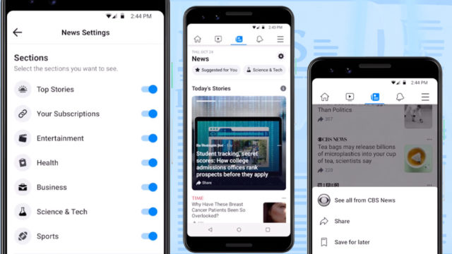 Three smartphones showing off the different news settings people can set for Facebook's news service