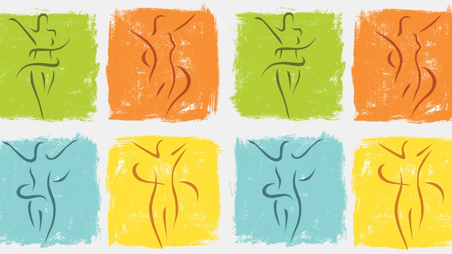 Eight silhouettes of women's bodies