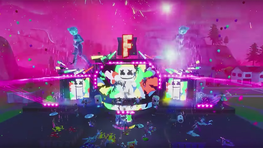 A screenshot of a Marshmello concert on the game Fortnite