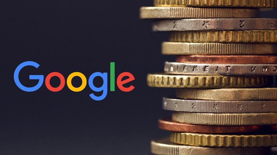 Google logo and stacked coins