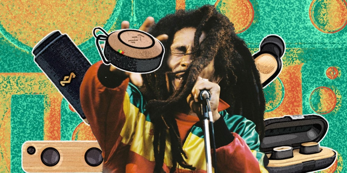 Bob Marley surrounded by audio components