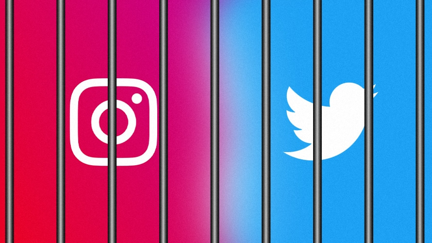 instagram and twitter logos behind bars