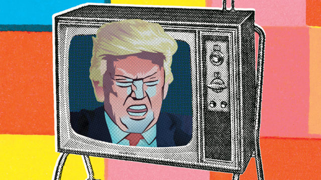 Donald Trump's face coming out of a TV