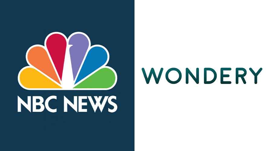 The NBC News logo and the Wondery logo next to each other