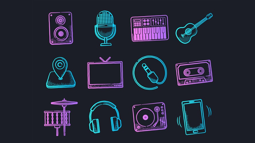 Icons related to music such as guitar, speaker, drums, and more in cyan and purple