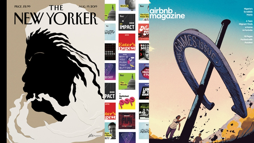 A collage of Adweek's 2019 Publishing Hot List winners including The New Yorker, Vox and Airbnb Magazine