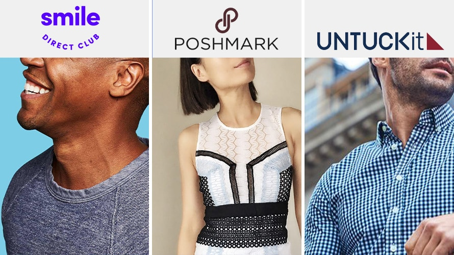 collage of dtc brands smiledirectclub poshmark untuckit