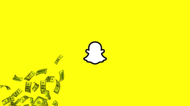Money and the Snapchat logo
