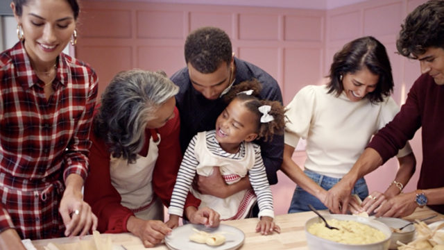 Target holiday campaign featuring a family baking
