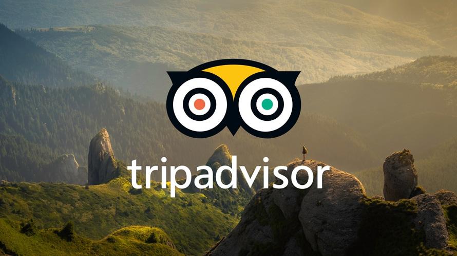the tripadvisor logo against mountains